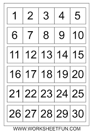 Number Chart 1 5 Number Chart 1 30 Number Charts 1 To 30 Free Printable