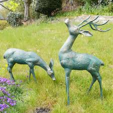 large deer antique bronze statues metal garden ornaments