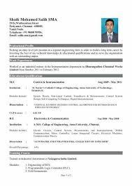 Sample Resume Download New Sample Resume For Freshers Engineers Download Instrument Engineer