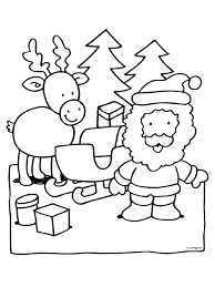 Kleurplaat Kerstman Rendier Kleurplatennl
