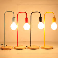 Phòng Ngủ Hiện Đại Đơn Giản Bằng Gỗ Nghệ Thuật E27 Đèn Bàn Sáng Tạo Đầu  Giường Bàn Làm Việc Nghiên Cứu Học Tập Nhỏ Bàn Đèn|Desk Lamps
