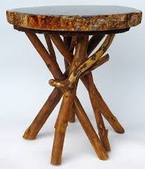 Wooden Side Table Petrified Wood Side Table With Branch Base At 1stdibs