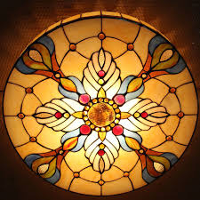 details about retro tiffany baroque style flush mount stained glass pendant lamp ceiling light