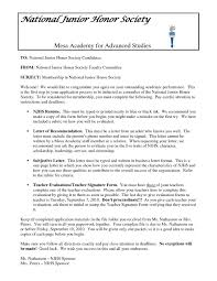 Example Letter Recommendation National Junior Honor Society Save