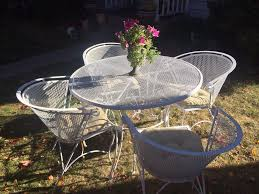 vintage woodard mesh patio set 4 chairs