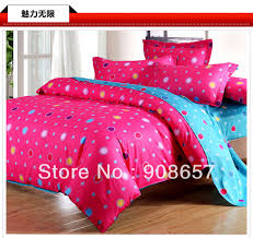 violet red blue polka dot printed cotton girls bedding bed linens bedsheet twin full queen king quilt duvet covers bed cover set