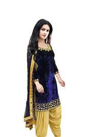 Amazon Punjabi Suits Design Chakudee By Blue Velvet Mirror Work Drees Material Amazon