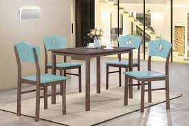 wood rectangular dining table. Chocolate Wood Rectangular Kitchen Dinette Dining Table \u0026 4 Yellow Or Blue Chairs