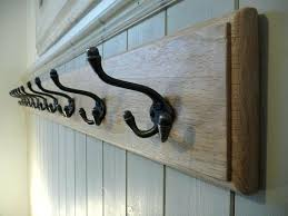 Wood Coat Racks Wall Mounted Impressive Wooden Coat Rack Vintage Style Cast Iron Triple Hooks Solid Oak Wood