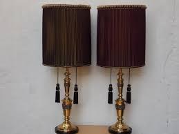 hollywood regency lighting. pair brass hollywood regency table lamps brutalist style with oversized original purple organza pleated lighting