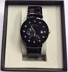 bulova 98d109 bulova men s diamond collection black ion stainless steel dual time watch 98d109