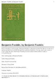 ebook autobiography of benjamin franklin pdf esl books esl materials