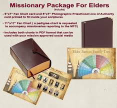 Missionary Package For Elders Includes Custom Priesthood Line Of Authority And 7 Generation Color Fan Chart