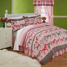 horse comforter sets for girls themed bedding bedroom design with white wooden bed 6