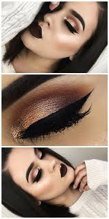 shimmery bronze with thick eyeliner smokey eye makeup ideas you