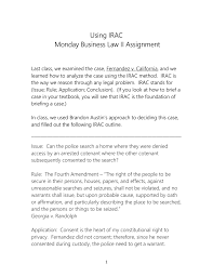 Check spelling or type a new query. Using Irac Monday Business Law Ii Assignment