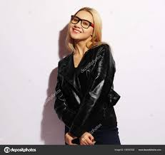 fashion model in black clothing leather jacket and pants blank t shirt and