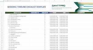 Best Excel Gantt Chart Wedding Timeline Checklist Template Excel Template Free