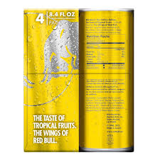 amazon red bull the yellow edition tropical energy drink 8 4 fl oz 4 count grocery gourmet food