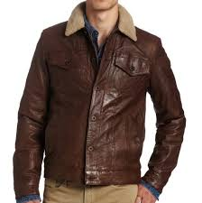 levis mens sherpa lining 100 leather trucker jacket brown l
