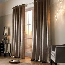 kylie minogue adelphi lined ready made eyelet ring top velvet curtains in caramel mist and truffle