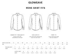 Shirt Neck Size Conversion Chart Mens Shirt Size Guide Gloweave Mens Shirts Size Chart