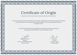 Example Certificate Of Origin Cool Certificate Of Origin Certificate Of