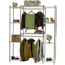 Wire Closet Shelving System w Double Hang Storage 18d x 84h