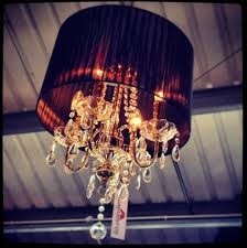 chandelier with black shade and crystal drops