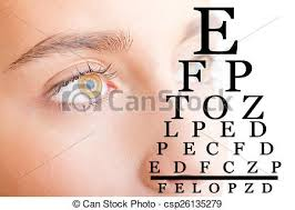 Close Up Of Womans Face With Eye Chart