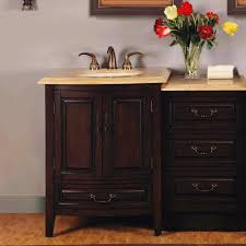46.5 Inch Single Sink Bathroom Vanity with LED Travertine Counter ...