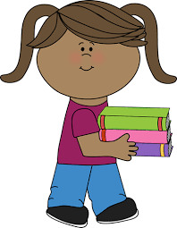 little carrying a stack of books