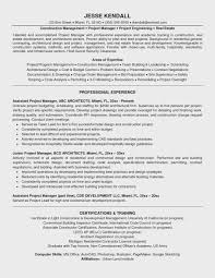 Project Management Resume Objective Carpentry Template Examples