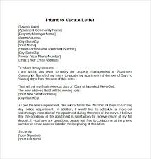Letter Of Intent To Vacate