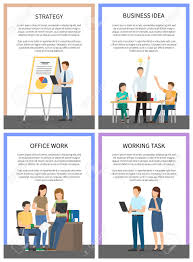 posters for office. Business Idea Strategy Working Office Task Posters Vector Illustration Of Discussing Workers With Laptops And Schedules For