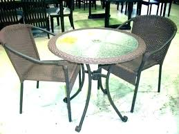 small round patio table outdoor set sears dining sets with a hole courtyard furniture umbrella led