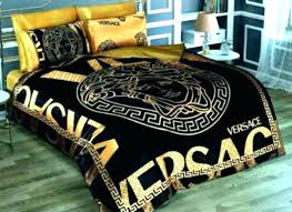 bedding bed sheets set gold and black medusa cotton satin queen size luxury box versace uk