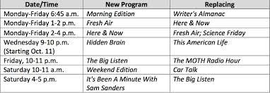 Monday To Friday Schedule Wamu Debuts New Programming Schedule Starting Oct 2 Wamu