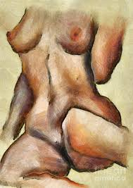 Drawing of naked women on canvas