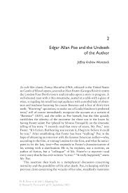 edgar allan poe and the undeath of the author springer adapting poe adapting poe
