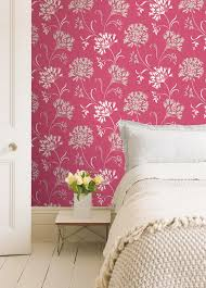 Pink FLowers Wall Painting in COntemporary Bedroom