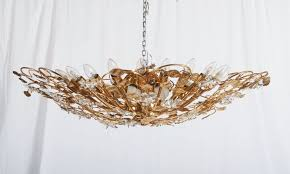 large brass and crystal flush mount chandelier 1988 1