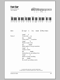 play learn piano s acoustic piano s beautiful fast car sheet tracy chapman