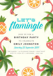 Tropical Party Invitations Lets Flamingle Tropical Theme Birthday Party Invitation Easil