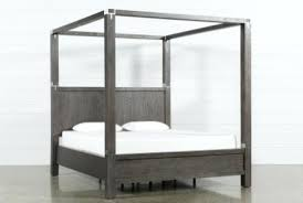 Wood Canopy Bed King Furniture Contemporary King Poster Bed Dark ...