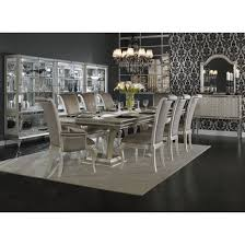AICO Michael Amini 9pc Rectangular Dining Table Set In Pearl Caviar