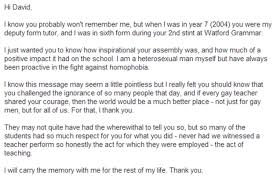 Student sends heartwarming email to teacher who came out as gay...