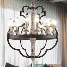 Vintage Hänge Leuchte Schlaf Zimmer Kronleuchter Decken Luster Holz Lampe Rost Farben Globo 64201 15