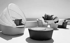 furniture futuristic. Futuristic Furniture With Wicker Coffee Table And Outdoor Armchairs For Contemporary Deck Design R