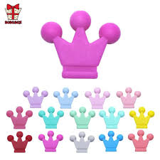 BOBO.BOX 5Pcs Crown Silicone Beads Baby Teething Colorful ...